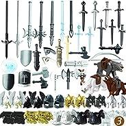 Goshfun 56Pcs Ancient Greek Ancient Roman Medieval Figure Weapon Armor Set, Small Particle Building Block Toy