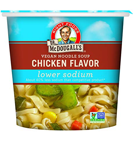 - Dr. McDougall's Right Foods Vegan Chicken Flavor Noodle Soup Light Sodium, 1.4 Ounce Cups (Pack of 6) Non-GMO, No Added Oil, Paper Cups From Certified Sustainably-Managed Forests
