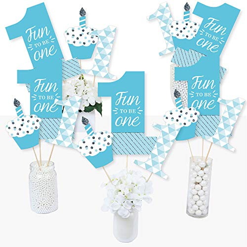 1st Birthday Boy - Fun to be One - First Birthday Party Centerpiece Sticks - Table Toppers - Set of -