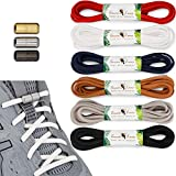 Toucan Laces [6 Pair] Elastic No Tie Shoe Laces for Adults   No Tie Shoelaces for Kids Shoes Tieless Athletic Running   Elderly Sneaker Shoelaces White Black Blue Red Shoe Laces For Sneakers laceless (Color: Black, White, Gray, Navy Blue, Brown, Red, Tamaño: 43in (110cm))