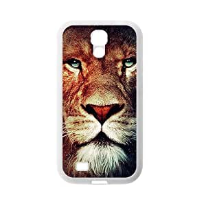 Brown Imposing Lion Face Spot Design Newest Popular Custom Luxury Cover Case For Samsung I9500 GALAXY S4(White) with Best Plastic