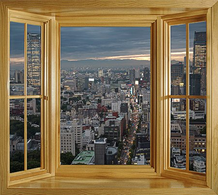 Fototapete fensterrahmen  wim176 - City Skyline Von Der Tokyo Tower Aussicht vom Fenster ...