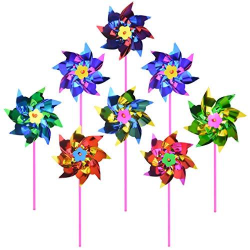 (Yolyoo 100 Pcs Plastic Rainbow Pinwheel,Windmill Party Pinwheels DIY Pinwheels Set for Kids Toy Garden Lawn Party Decor)