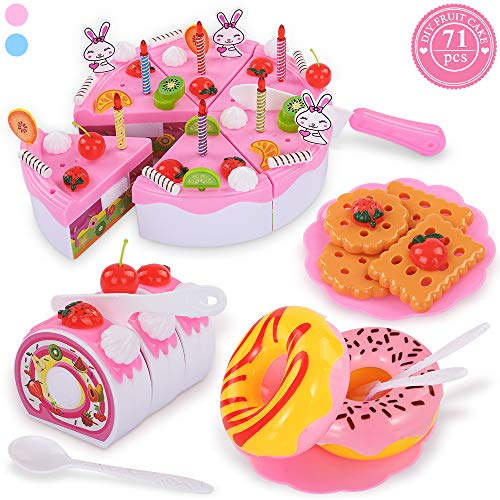 TEMI Pretend Play Food for kids, DIY 71 PCS Cutting Birthday Party Cake Toys Set w/ Candles Fruit Dessert, Early Educational Kitchen Toy for Children, Toddlers, Boys & Girls, Aged 3 4 5 Year Old, Pink -