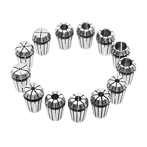 15Pcs ER20 Collet Chuck 1mm-13mm for CNC Milling Chuck Lathe Tool Holder Engraving Machine Spindle Motor Spring Collet 1/8in, 1/2in