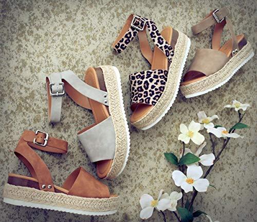Ymost Womens Wedges Sandal Open Toe Ankle Strap Trendy Espadrille Platform Sandals Flats(6.5, Z/Khaki)
