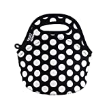 BUILT NY Gourmet Getaway Neoprene Mini Snack Tote, Big Dot Black & White