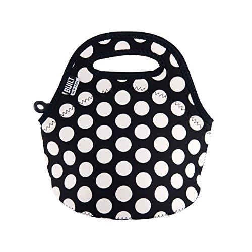 (BUILT LB10-BBW Gourmet Getaway Mini Soft Neoprene Lunch Tote Bag-Lightweight, Insulated and Reusable, Snack, Big Dot Black & White)