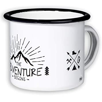 BEGINS_ HOCHWERTIGE_EMAILLE TASSE_MIT OUTDOOR_DESIGN Camping & Outdoor
