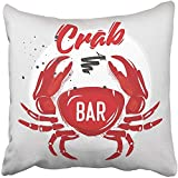 Throw Pillow Cover 18''X18'' Decorative Polyester White Graphic Chalk Red Crab With Letting Seafood Restaurant Bar Cafe Animal Badge Pillowcase Print Two Sides Deco Home