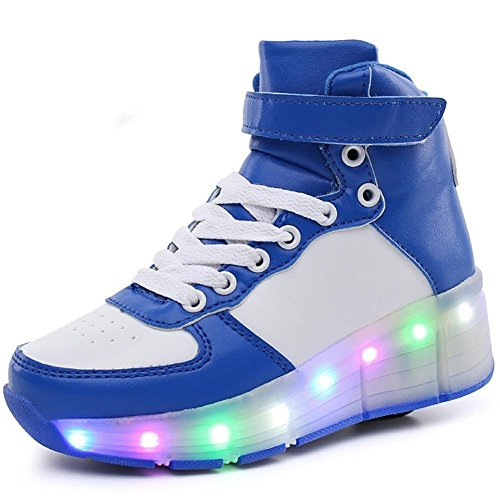 (6KZMNA0Z0A Kids Boys Girls High-Top Shoes LED Light Up Sneakers Single Wheel Double Wheel Roller Skate Shoes Blue/White-Single Wheel 3 M US Little)