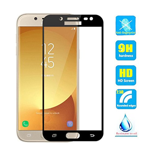 2pcs Full Cover Coverage Tempered Glass screen protector For Samsung Galaxy J3 pro 2017 J330 SM-J330F/DS J330F J330FN J3300 J3 Duos 2017 Film black