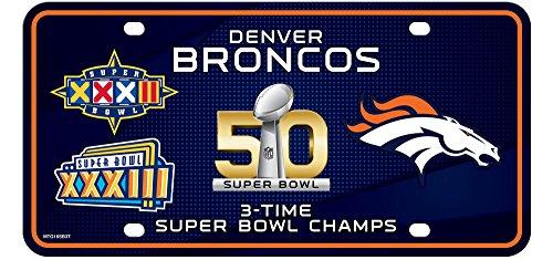 Denver Broncos 3X Super Bowl Champions Aluminum License Plate Tag Football (3x Bowl Super)