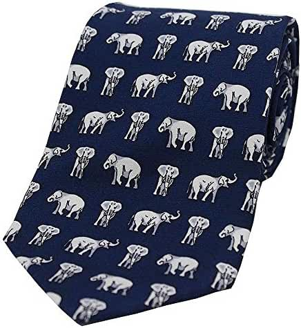 Navy Elephants Country Silk Tie by David Van Hagen