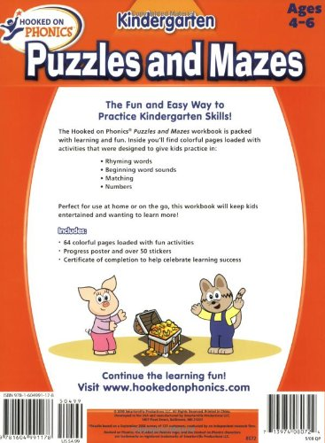 Hooked on Learning Kindergarten Puzzles and Mazes Workbook