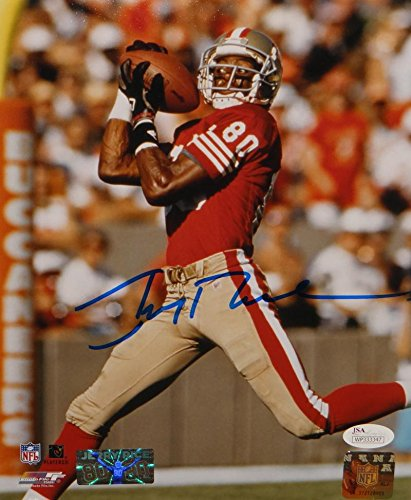 Jerry Rice Autographed 8x10 Photo - Jerry Rice Autographed 49ers 8x10 Shoulder Catch PF. Photo- JSA Witnessed Auth