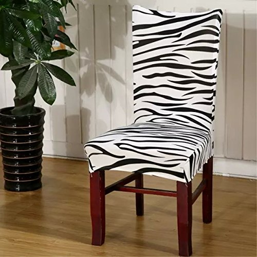 TOFERN 2 Pack Modern Stretch Removable Printed Shorty Seat Cover Hotel Restaurant Home Dining Chair Slipcover, zebra stripe -  MYZX-1-69
