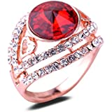 Women 18K Rose Gold Plated Red Crystal Ring Elegant Jewelry CZ Rhinestone LOVE STORY (9#)