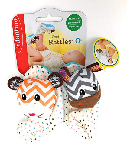 Infantino Foot Rattles, Polka Dot Zebra and ()