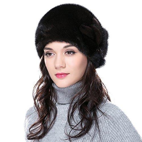 URSFUR Mink Fur Women's Cloche Hat Round Top Brown by URSFUR