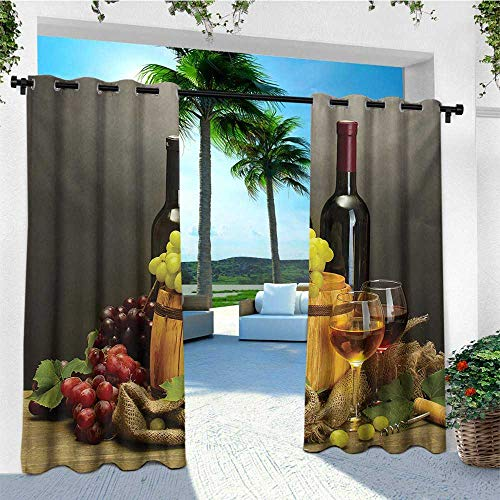 (leinuoyi Winery, Outdoor Curtain Extra Wide, Barrel Bottles and Glasses of Wine and Ripe Grapes on Wooden Table Picture Print, Outdoor Curtain Set for Patio Waterproof W120 x L108 Inch Multicolor)