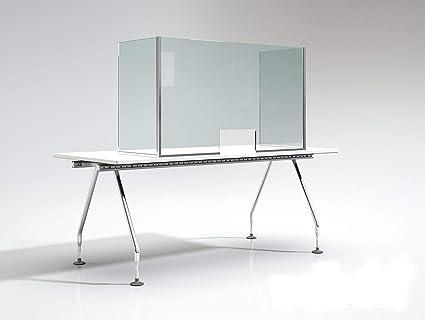 Pantalla de Protección - Mampara Sanitaria - Para Mostrador y Mesas oficina - Cristal templado de 6 mm. (110 X 70 X 45 cm) Posibilidad de Medidas Personalizadas Consultar.: Amazon.es: Oficina y papelería