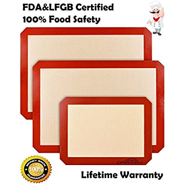 Silicone Mats for Baking, Set of 3 Non Stick Silicone Baking Mat 2 Large for Half Sheet Liners (16 1/2 inch x 11 5/8 inch) and 1 Quarter (11 3/4 Inch x 8 1/4 Inch) Draway Heat Resistant Cookie Sheet