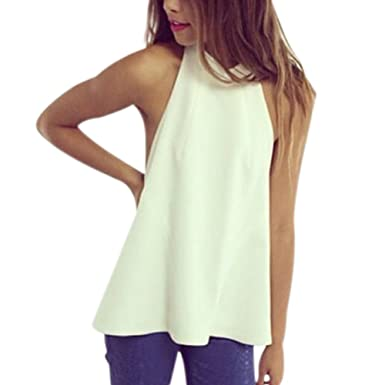 9f748337f3b803 Fashion Womens Summer Loose Halter Neck Sleeveless Backless Vest Tops Tank  Zipper Shirt Blouse  Amazon.co.uk  Clothing