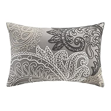 INK+IVY Kiran Oblong Pillow with Chain Stitch, Taupe