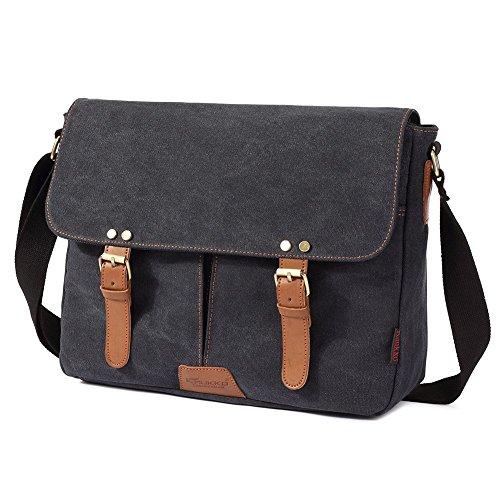 Vintage Men Messenger Bag, Kaukko Canvas Crossbody Shoulder Bags Laptop Briefcase Black by KAUKKO (Image #2)
