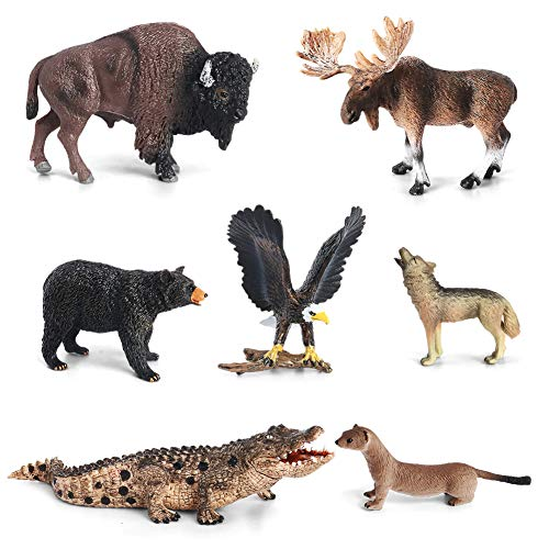 Animal Figurines Toys VOLNAU 7PCS North America Figures Zoo Pack for Toddlers Kids Preschool Educational Moose Wolf Bear Jungle Forest Woodland Animals Sets, BPA Free