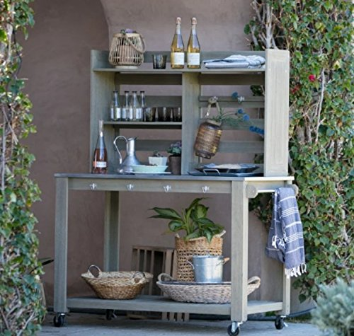 Potting Bench, Garden Potting Bench, Potting Benches Driftwood Finish,Hutch Back With Open Shelving