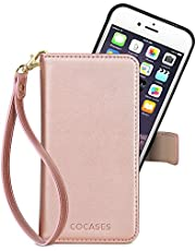 COCASES Wallet Case Compatible iPhone X/10,8 Plus/7 Plus/6 Plus/6s Plus,8/7/6/6s,SE/5/5s, PU Leather Flip Folio Cover Removable Magnetic Card Slot Wrist Strap