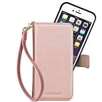 COCASES Wallet Case Compatible iPhone 8/7/6/6s, iPhone 8/7/6/6s Plus, PU Leather Flip Folio Removable Magnetic Stand Cover Card Slot Wrist Strap