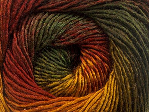 (1) 100 Gram Autumnal Primadonna Wool Blend Self-Striping Yarn, Fine/Sport Weight