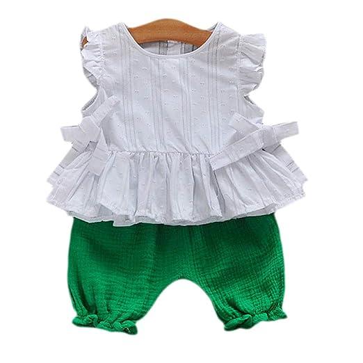 22f322639a3d7 Amazon.com: 2PCS Summer Cotton Linen Clothes Sets for Little Girl ...