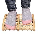 Wooden Dual Foot Massager Roller Pain Relief for Plantar Fasciitis Heal Spur Deep Tissue Acupressure Foot & Heel Massager