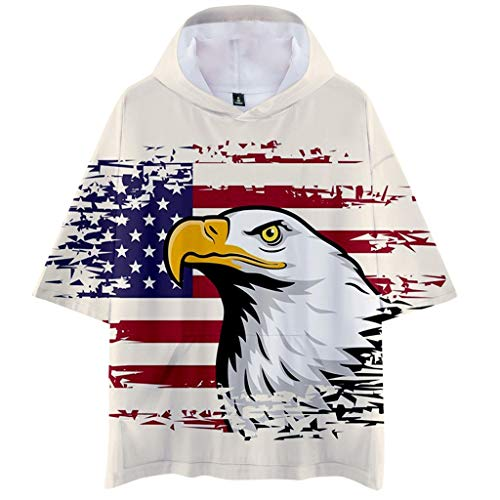 Men Summer Hooded Flag Printed Sports Shirts Pure Large Size Male Blouse Tops Beige ()