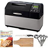 Zojirushi BB-CEC20 Home Bakery Supreme 2-Pound-Loaf Breadmaker + 8-inch x 12-inch Bamboo Cutting Board + 7-inch Bread Knife + 4-Piece Measuring Spoons Set + Gluten-Free Baking Classics for The Bread Machine Book
