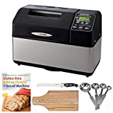 zojirushi bread machine pan - Zojirushi BB-CEC20 Home Bakery Supreme 2-Pound-Loaf Breadmaker + 8-inch x 12-inch Bamboo Cutting Board + 7-inch Bread Knife + 4-Piece Measuring Spoons Set + Gluten-Free Baking Classics for The Bread Machine Book