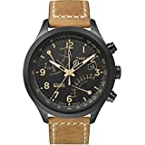 Timex Intelligent Quartz T2N700ZA Fly Back Chronograph Black Dial and Tan Leather Strap Watch