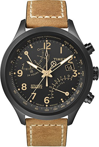 Timex Men's T2N700 Intelligent Quartz Fly-Back Chronograph Brown Leather Strap Watch 2nd Time Zone Black Dial