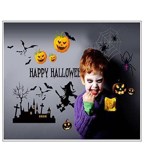 Oksale® Happy Halloween Pumpkin Spider Wall Stickers, 19.7 X 27.6 Inch, Decorative Home Living Room Bedroom Crafts PVC Removable Applique Papers Mural Decoration Decor (Halloween Pumpkin Dance Vine)
