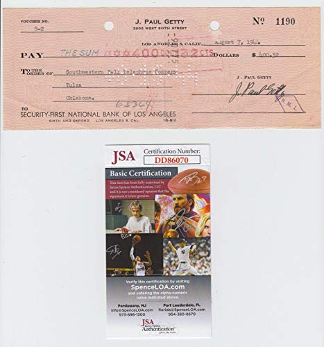 (J Paul Getty Signed 1944 Security First Bank Of Los Angeles Check Cert - JSA Certified - MLB Cut Signatures)