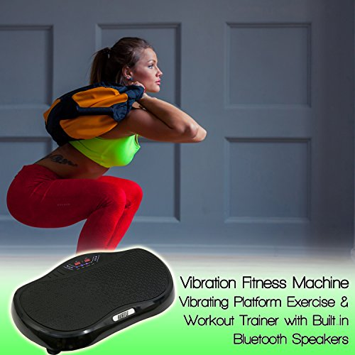 Hurtle Crazy Fit Vibration Fitness Machine Anti Slip Vibrating Platform Exercise & Workout Trainer, with Built in Bluetooth Speakers, Ideal for All Body Types & Age Groups. (HURVBTR35BT)