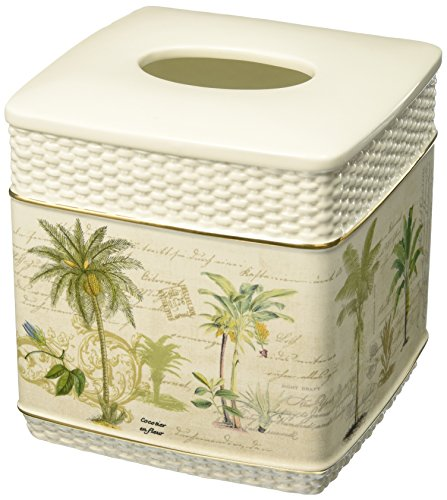 Avanti Linens 13668EIVR Colony Palm Tissue Cover, Medium, Ivory - Palm Tree Paper Towel Holder