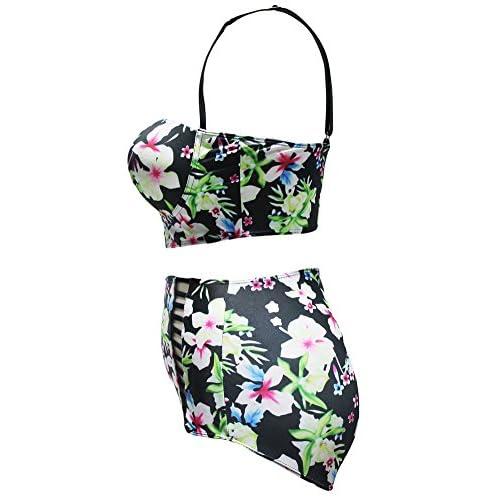 3826e0abe932f Lalagen Women s Strappy Hollow Out Floral Swimwear Plus Size High Waist  Bikini Sets lovely