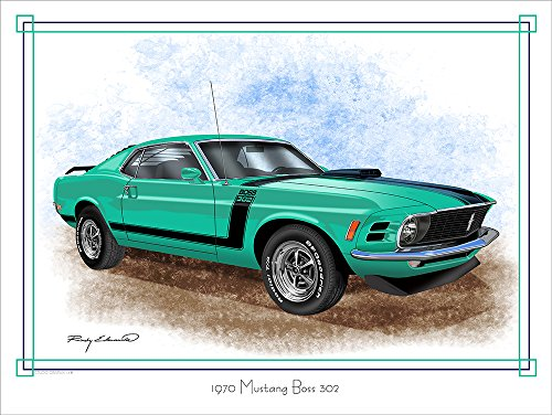 1970 Ford Mustang Boss 302 Green Muscle Car Art Print by Rudy Edwards 18