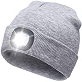 AONAN USB Rechargeable LED Beanie Cap, Lighting and Flashing Alarm Modes Ultra Bright 4 LED Hands Free Flashlight Unisex Winter Warmer Knit Cap Hat (Gray)