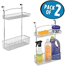 mDesign Over-the-Cabinet Kitchen Hanging 2-Tier Storage Organizer Shelf for Cleaning Supplies - Pack of 2, Chrome